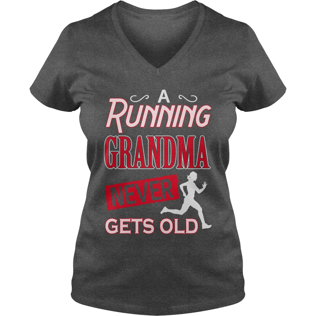 A running grandma never gets old lady v-neck
