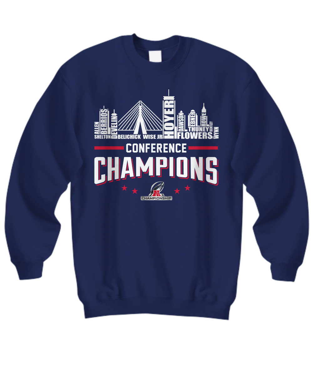 New England Patriots roster conference champions sweatshirt