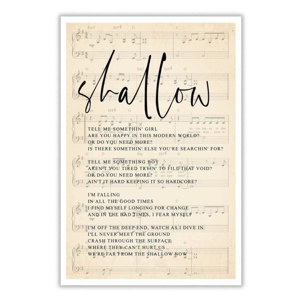 Shallow tell me something girl are you happy in this modern world poster