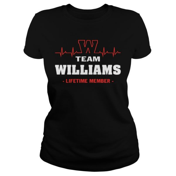 Team Williams lifetime member heartbeat lady shirt