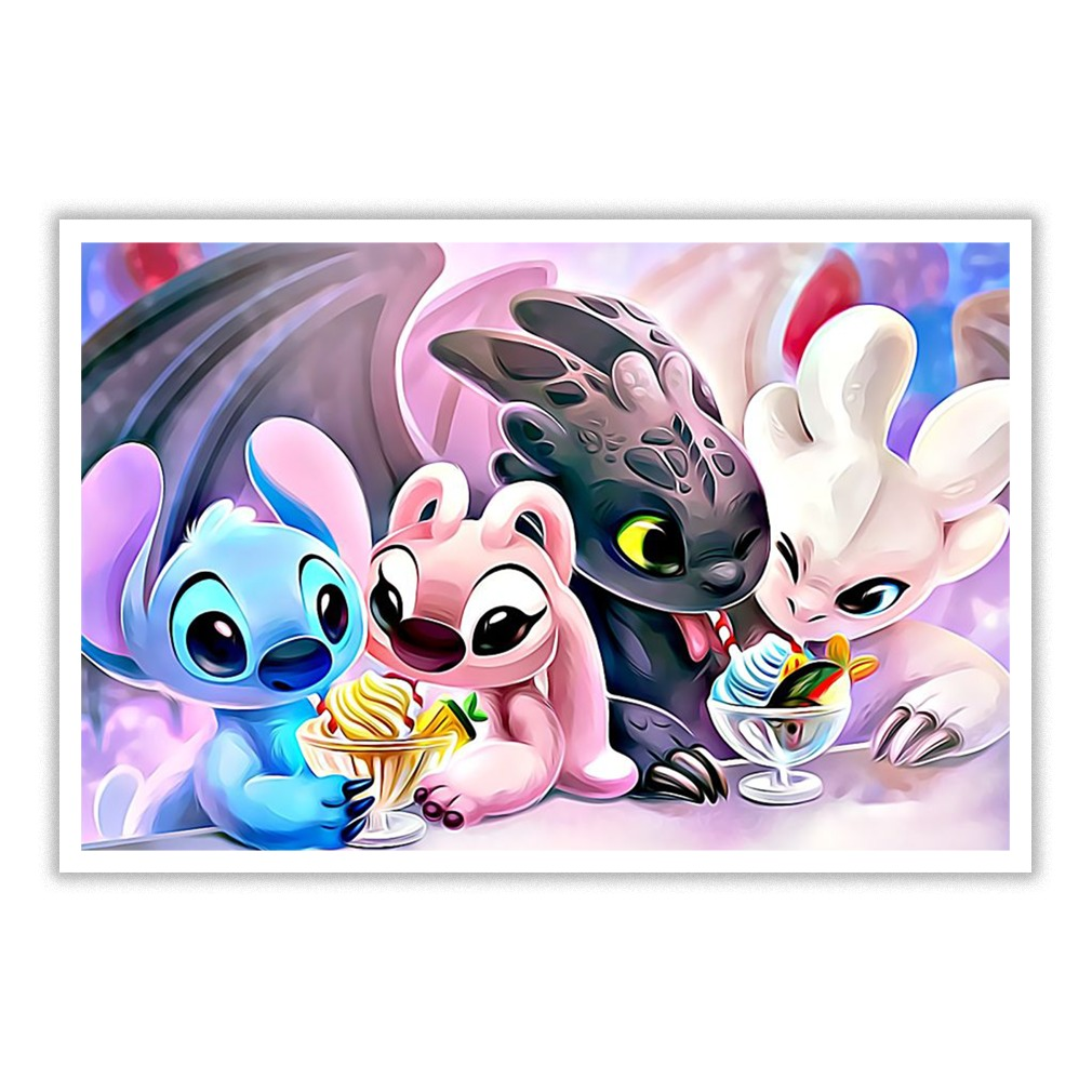 Double Date Stitch Angel Toothless Light Fury small poster