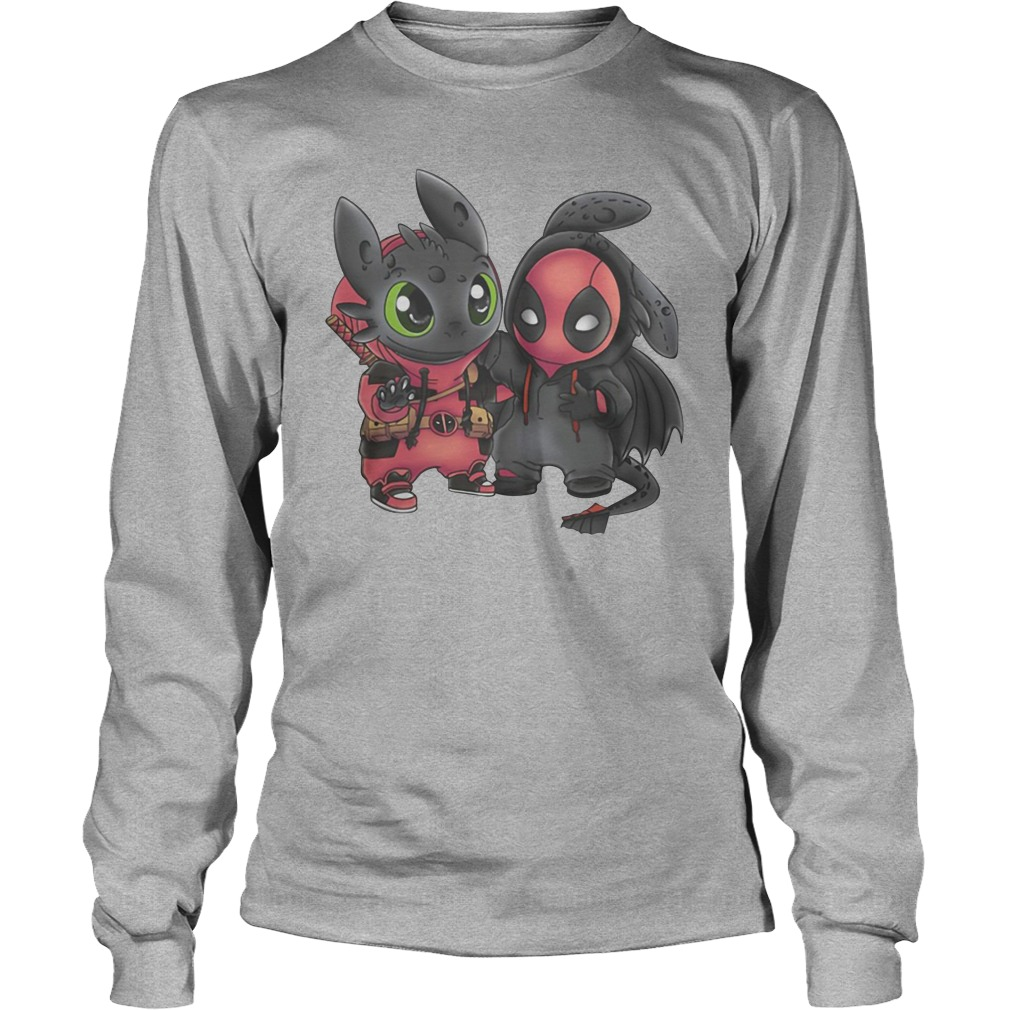 Baby Toothless and Deadpool swap mashup long sleeve
