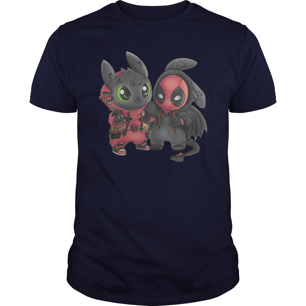 Baby Toothless and Deadpool swap mashup unisex shirt