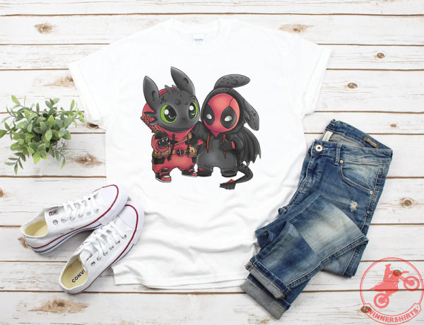 Baby Toothless and deadpool swap mashup shirt