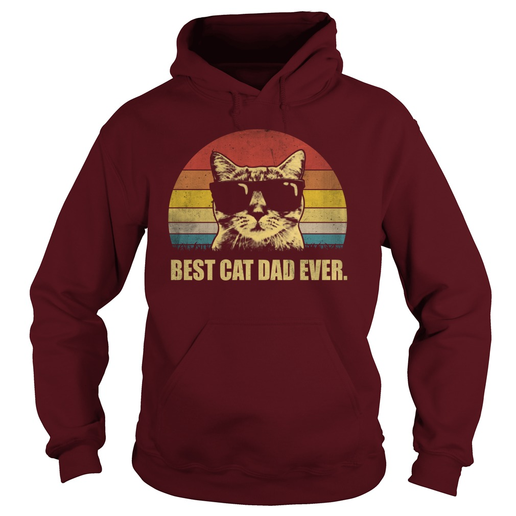 Best cat dad ever vintage cat wear glass hoodie