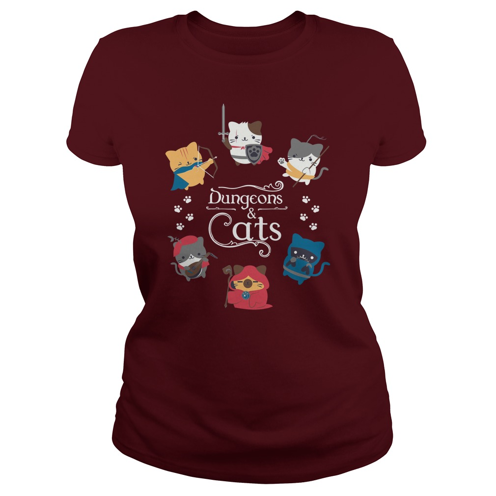 Dungeons Cats Dungeons and Dragons lady shirt