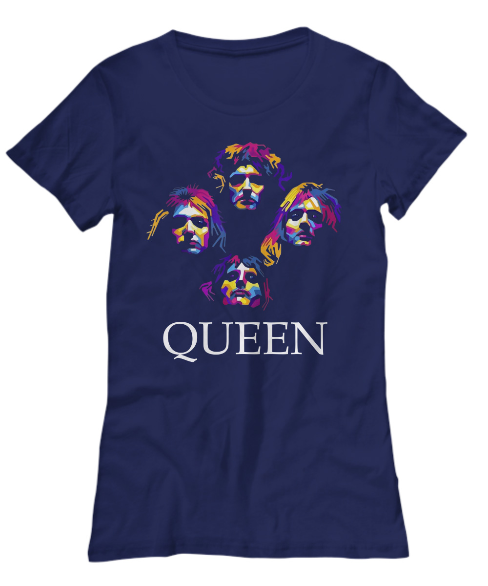 Queen band color pop art lady shirt