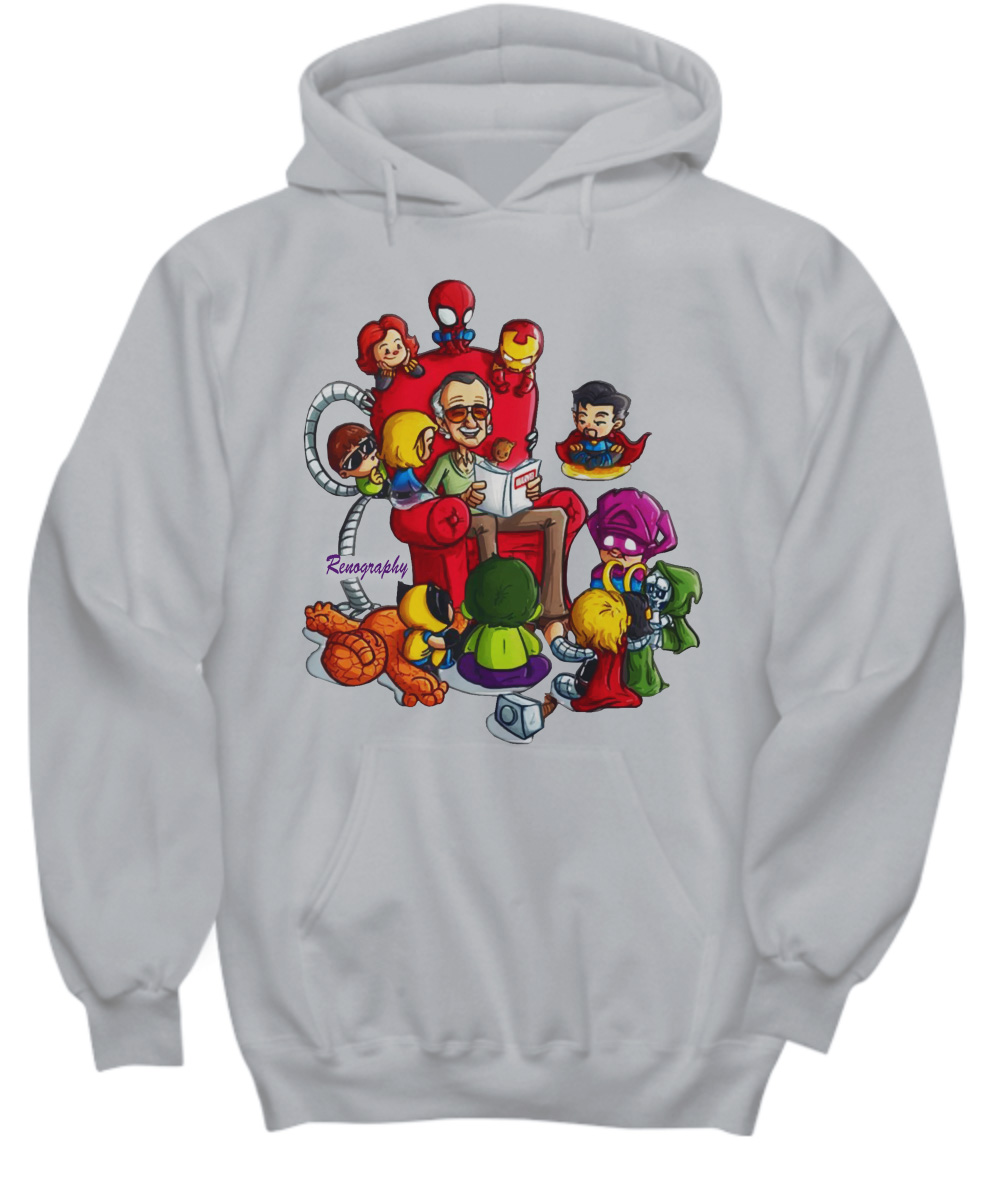 Stan Lee Marvel and Superhero Chibi Renography hoodie