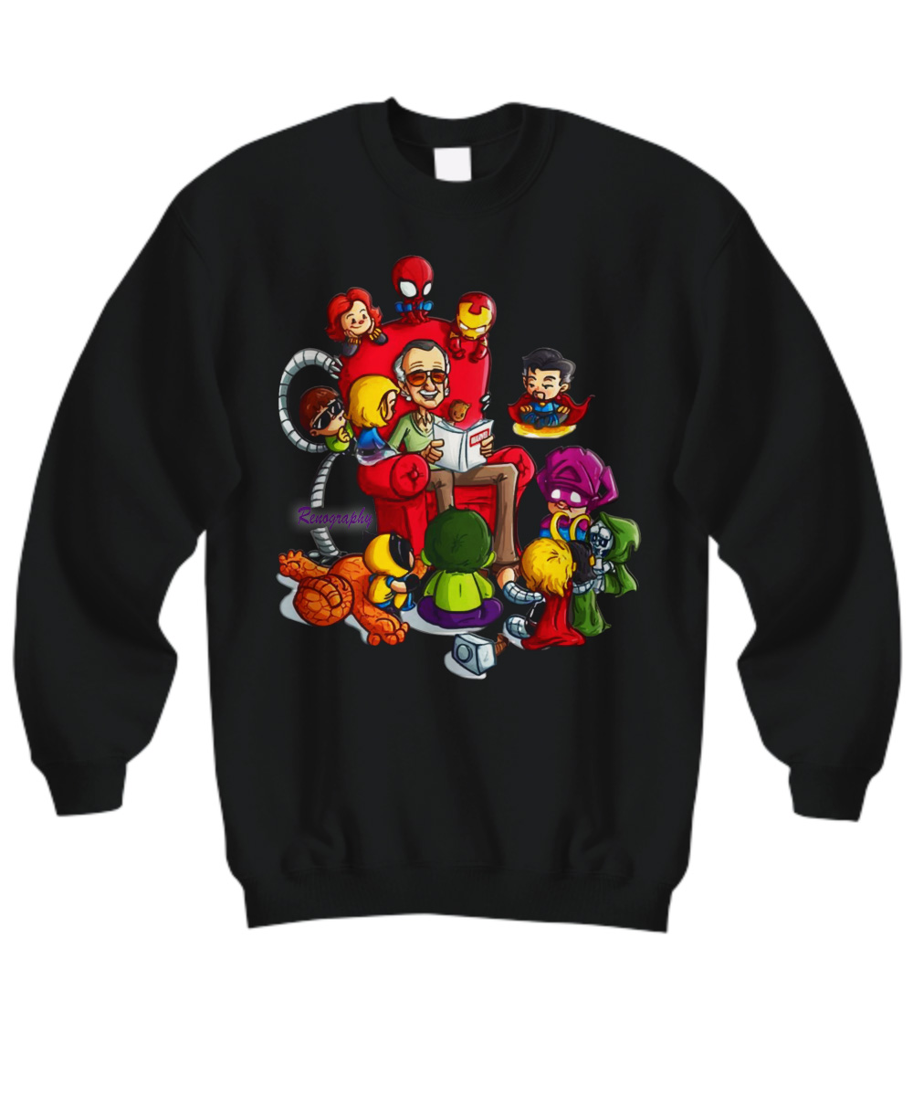 Stan Lee Marvel and Superhero Chibi Renography sweatshirt