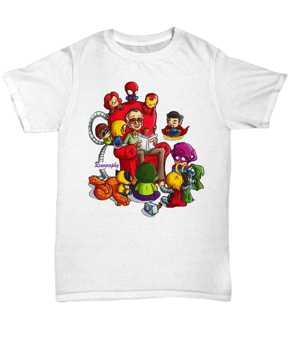Stan Lee Marvel and Superhero Chibi Renography unisex shirt