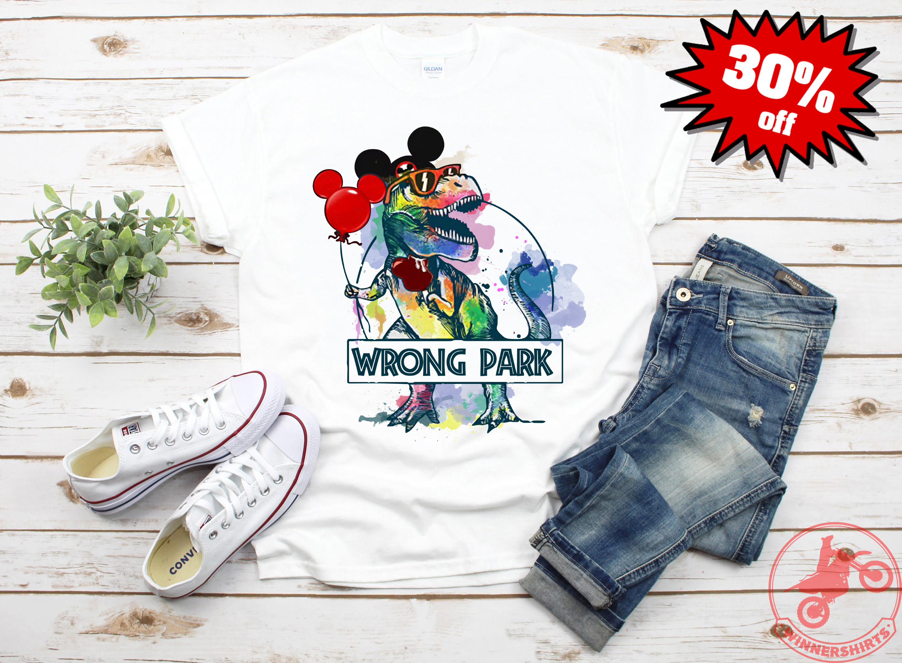 b94d28adf T-rex Dinosaur Mickey mouse holding balloon wrong park shirt or hoodie