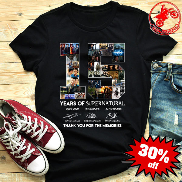 15 years of Supernatural 2005-2020 thank you for the memories shirt