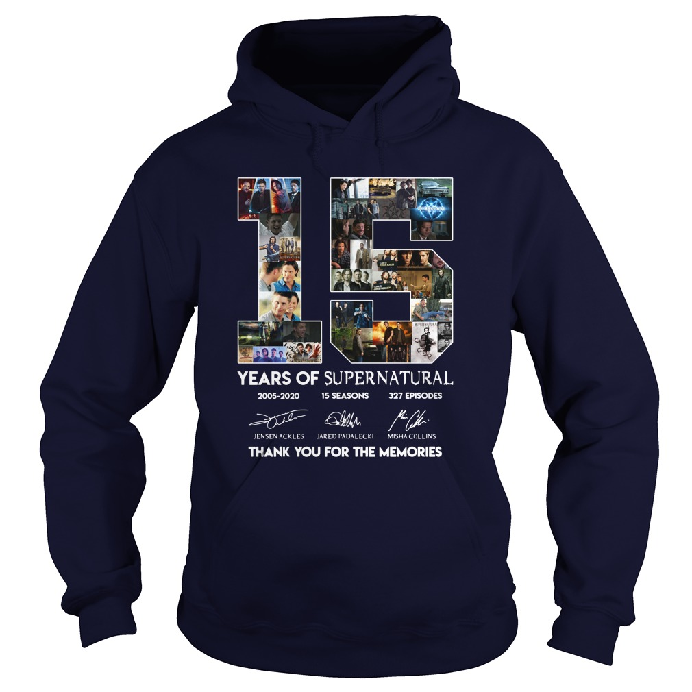 15 years of Supernatural 2005-2020 thank you for the memories hoodie