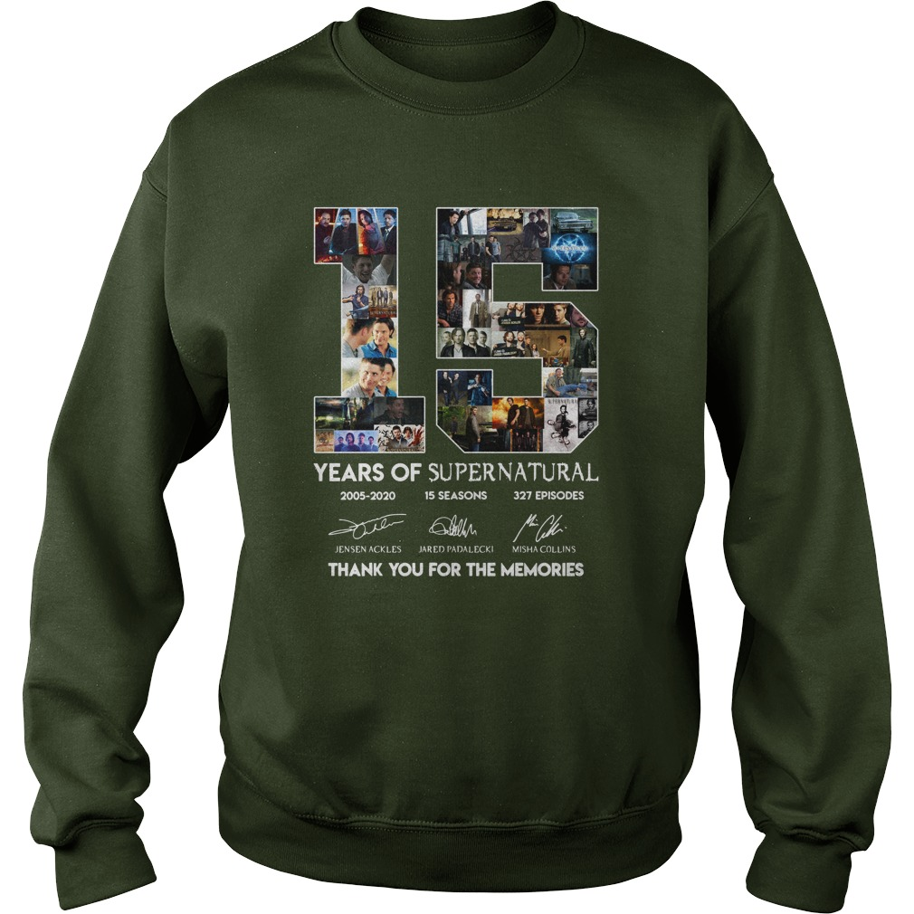 15 years of Supernatural 2005-2020 thank you for the memories sweatshirt