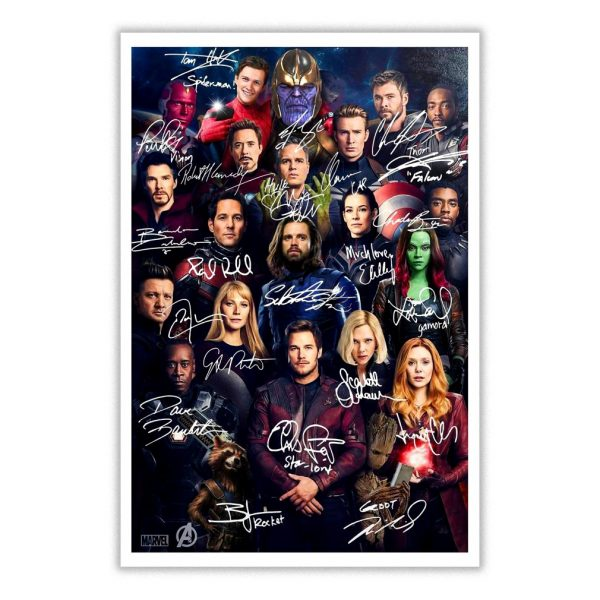All Marvel Avengers heroes signatures poster