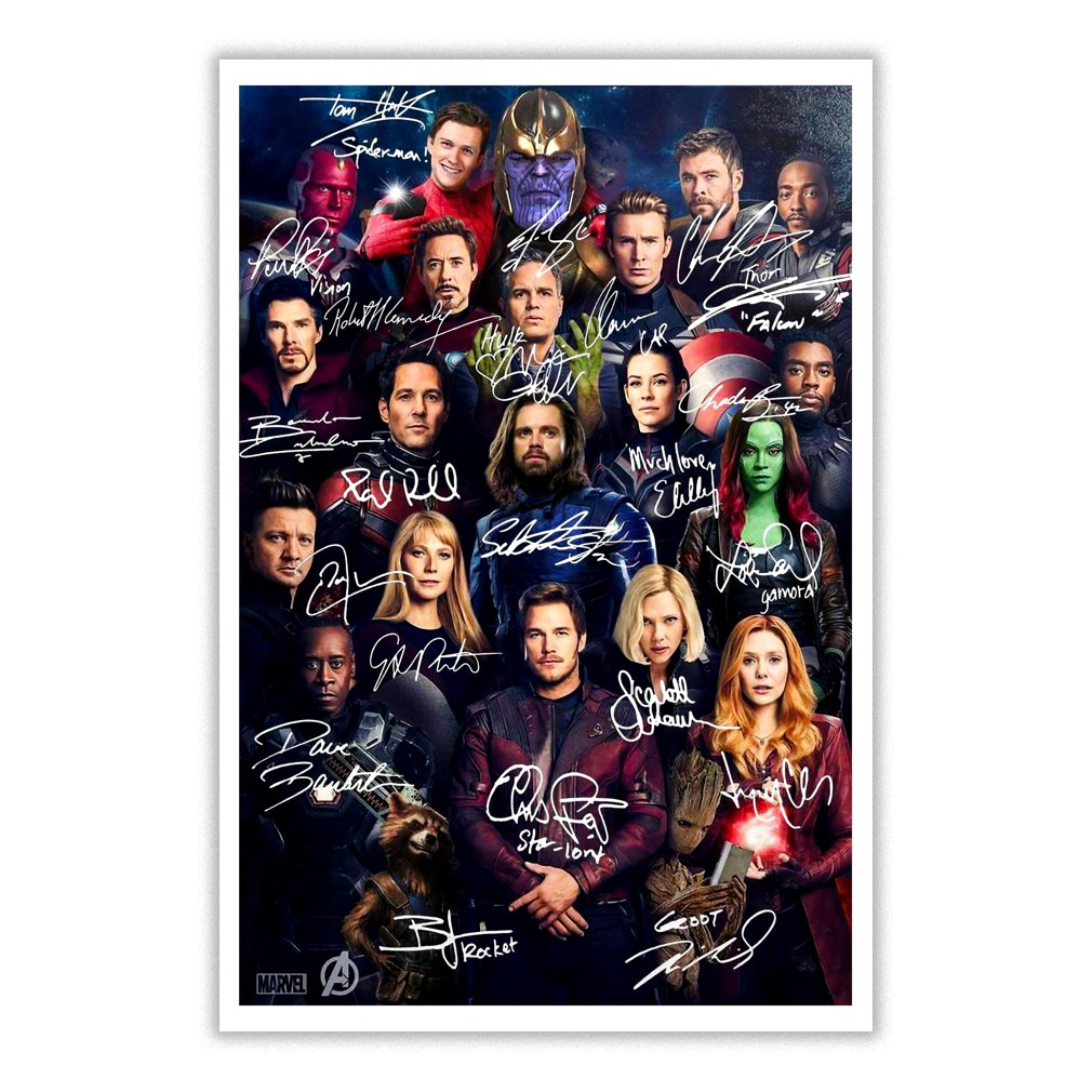 All Marvel Avengers heroes signatures small poster