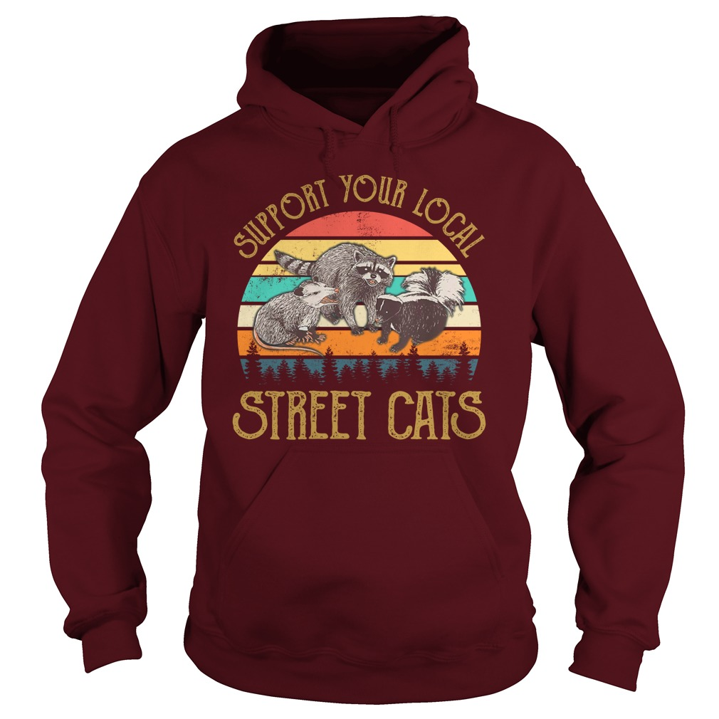 Cat Kitten Support Your Local Street Cats Vintage hoodie