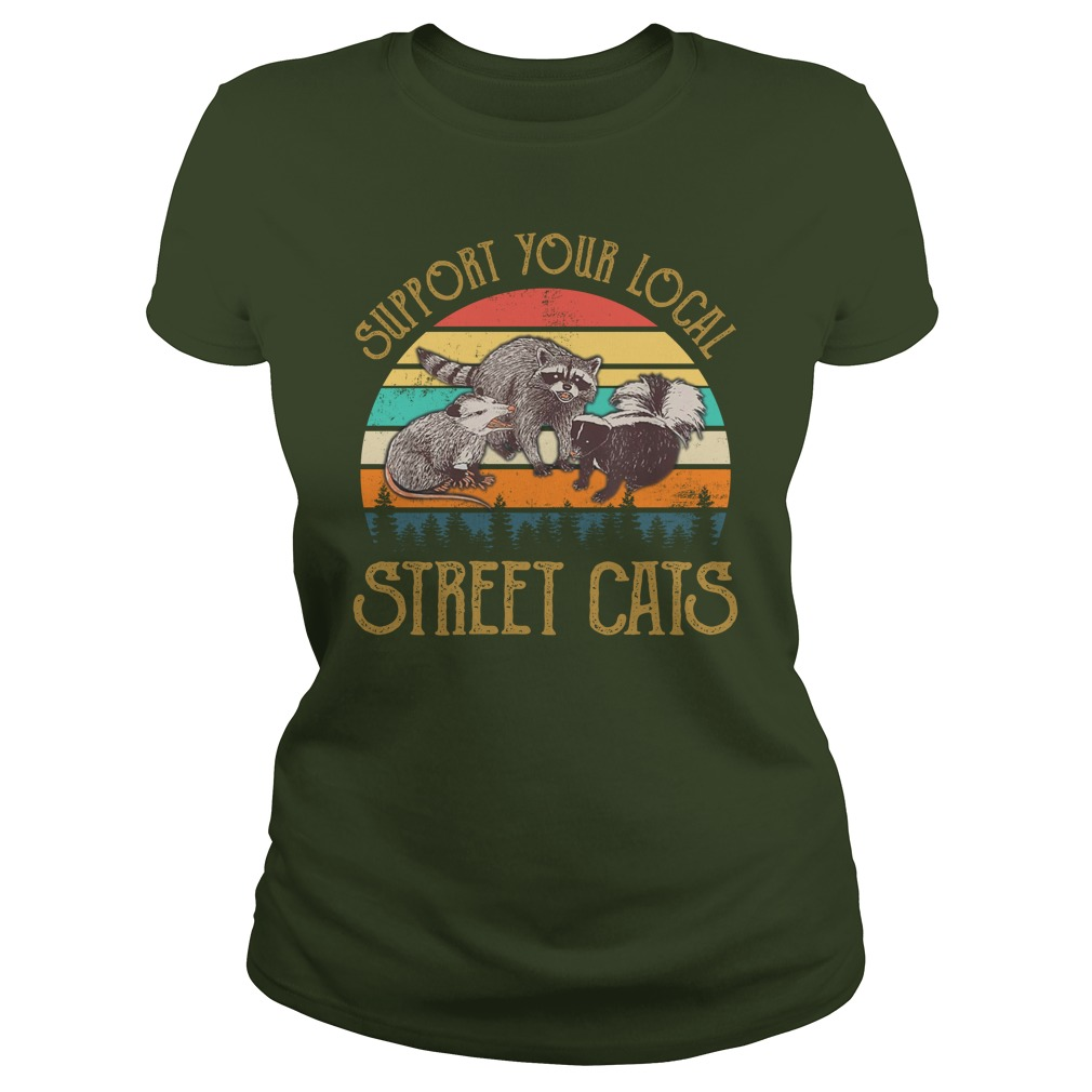 Cat Kitten Support Your Local Street Cats Vintage lady shirt