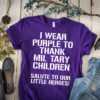 I wear purple to thank military children salute to our little heroes shirt