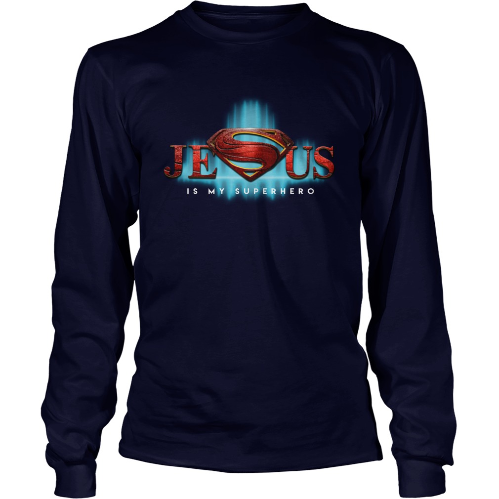 Jesus is my hero superman logo long sleeve