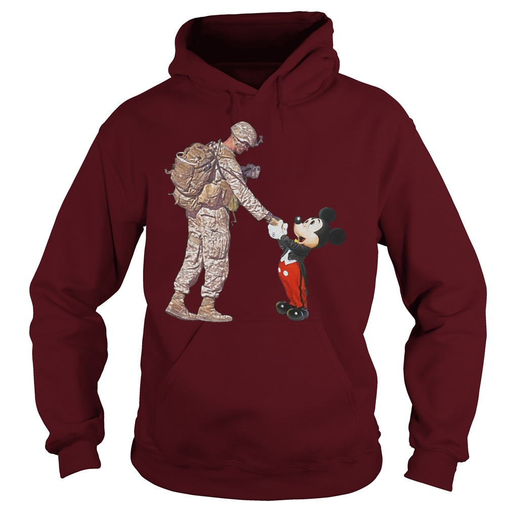Mickey Mouse shaking hands with a soldier hoodie