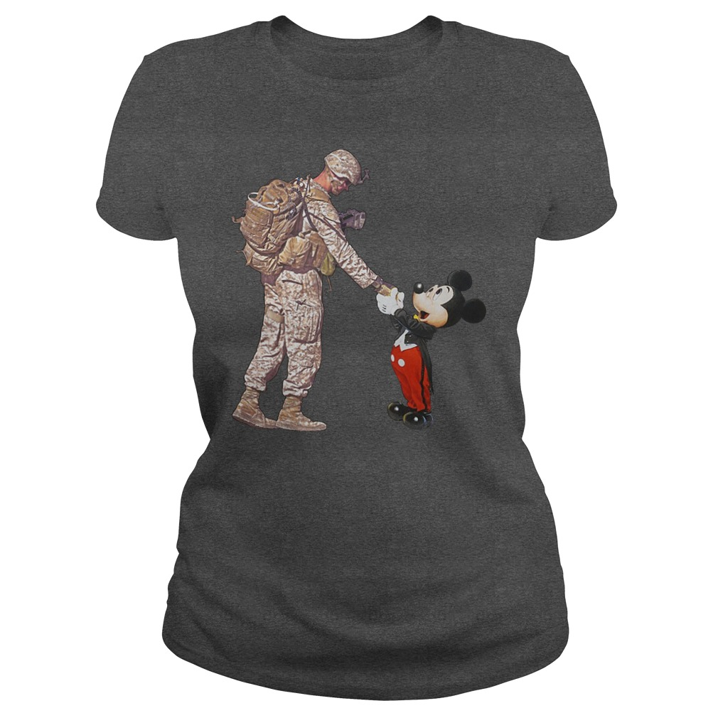 Mickey Mouse shaking hands with a soldier lady shirt