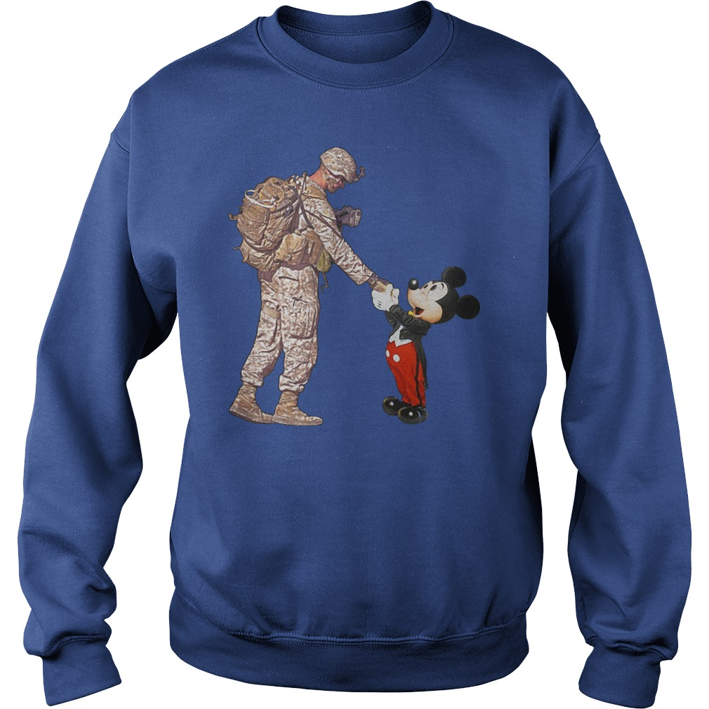 Mickey Mouse shaking hands with a soldier sweatshirt