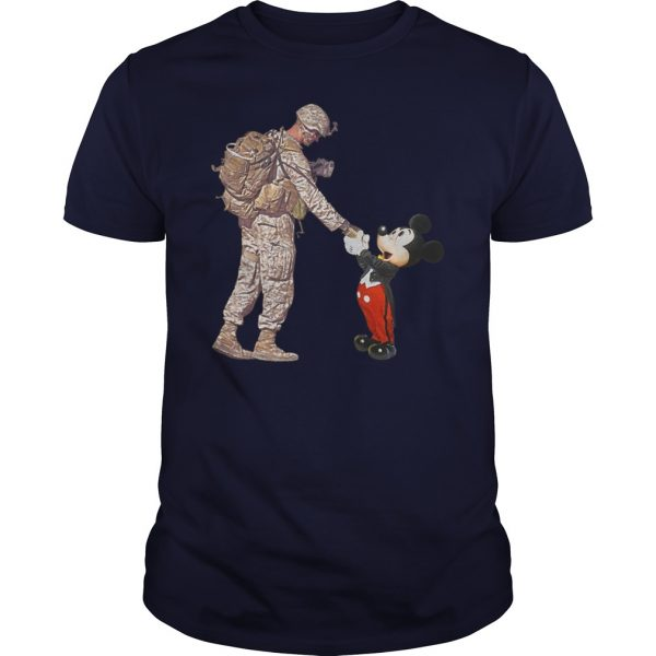 Mickey Mouse shaking hands with a soldier unisex shirt