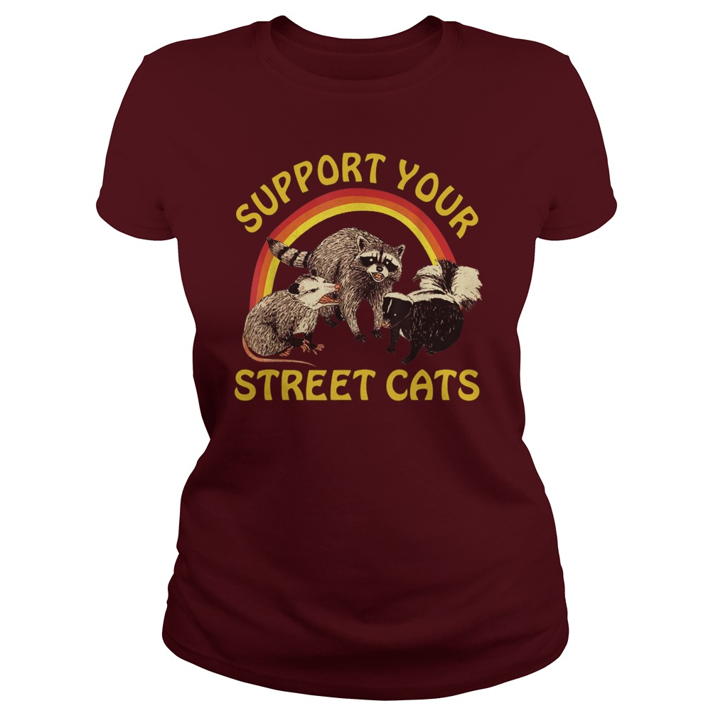 Raccoon Support Your Local Street Cats lady shirt