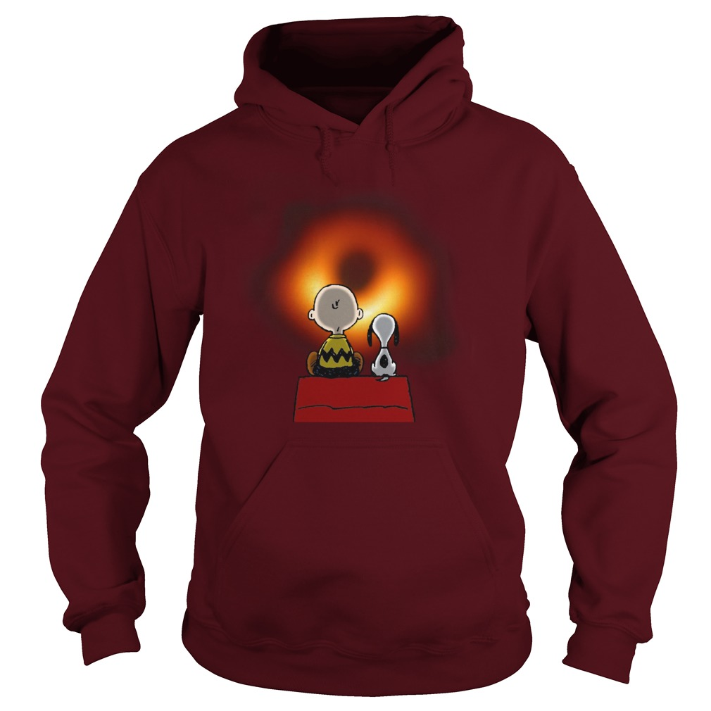 Snoopy and Charlie Brown watching black hole hoodie