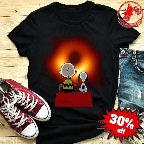 Snoopy and Charlie Brown watching black hole shirt