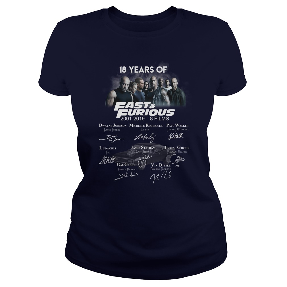 18 Years Of Fast And Furious 2001 - 2019 Signature lady shirt