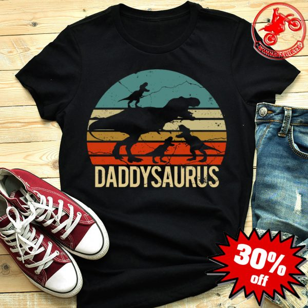 Father's Day 3 Kids Daddysaurus Vintage Sunset Shirt
