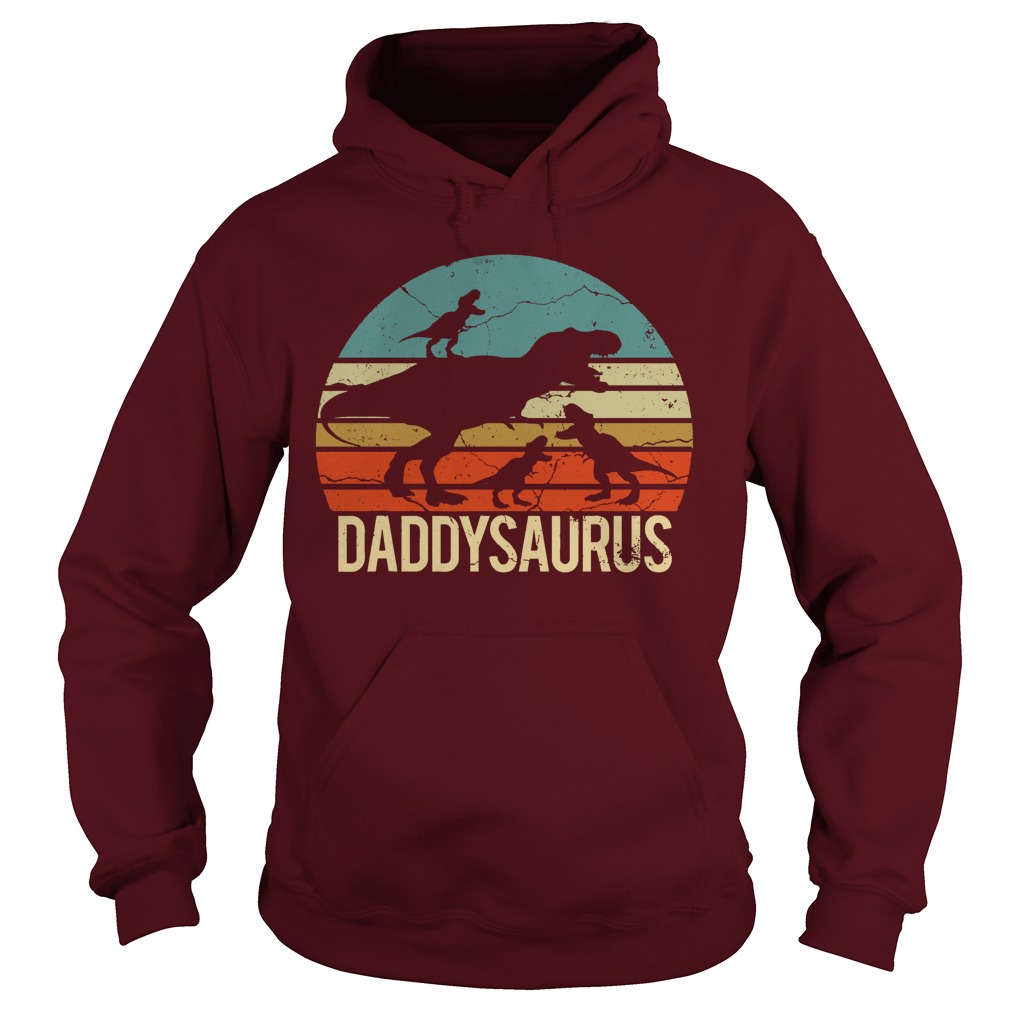 Father's Day 3 Kids Daddysaurus Vintage Sunset hoodie
