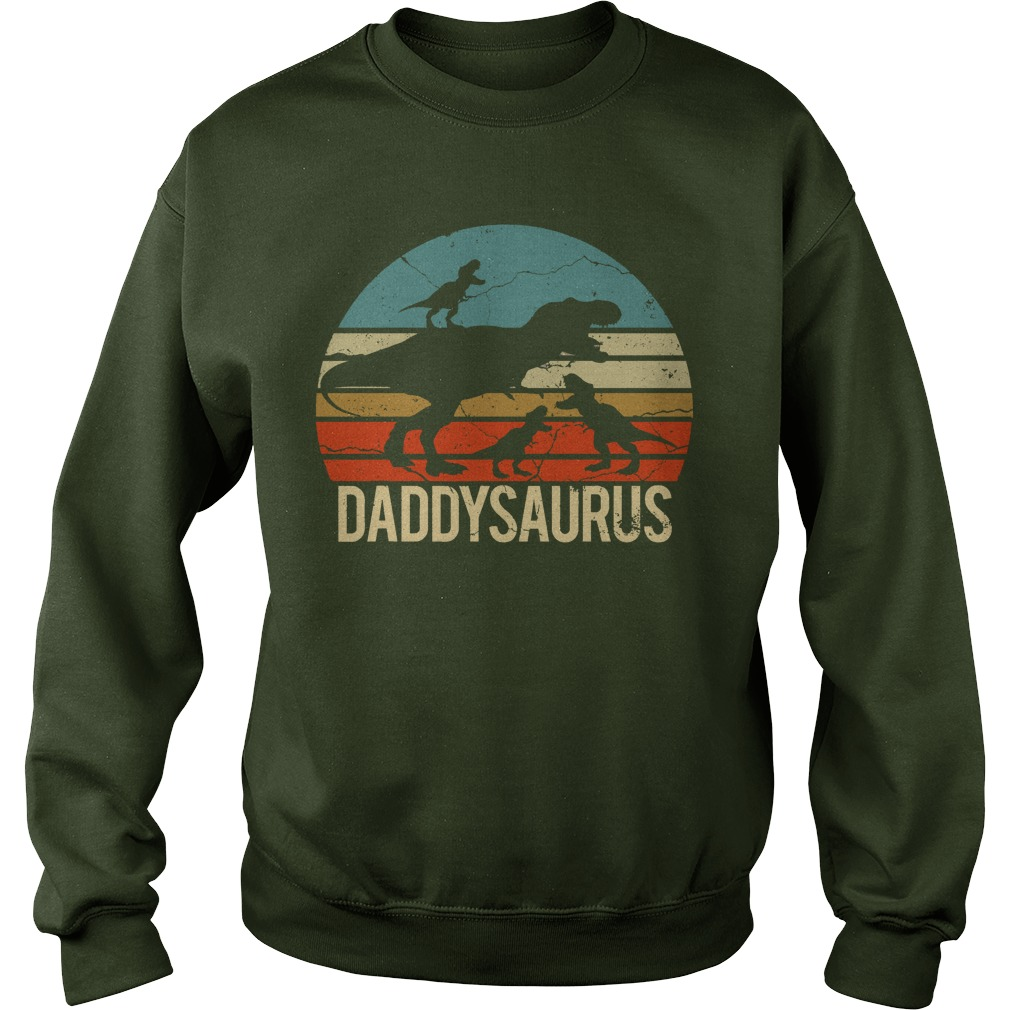Father's Day 3 Kids Daddysaurus Vintage Sunset sweatshirt