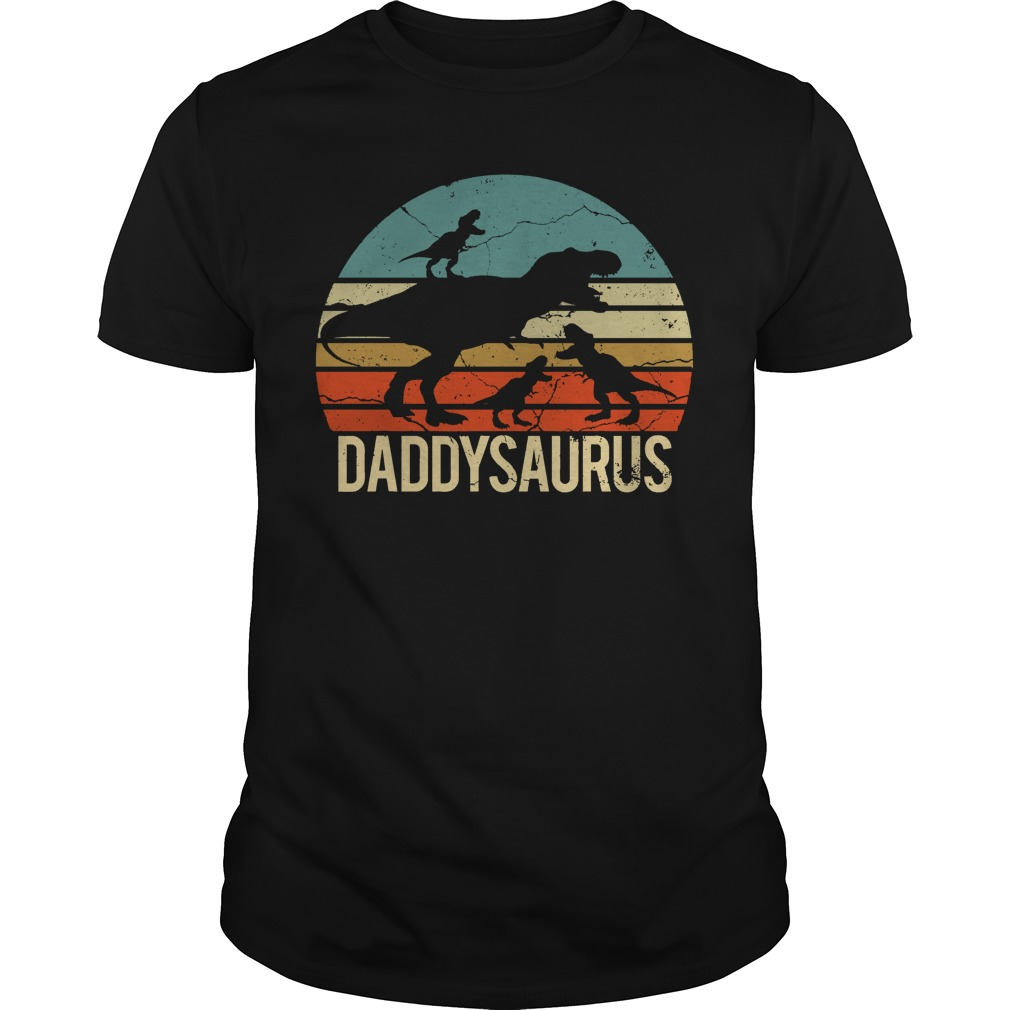 Father's Day 3 Kids Daddysaurus Vintage Sunset unisex shirt