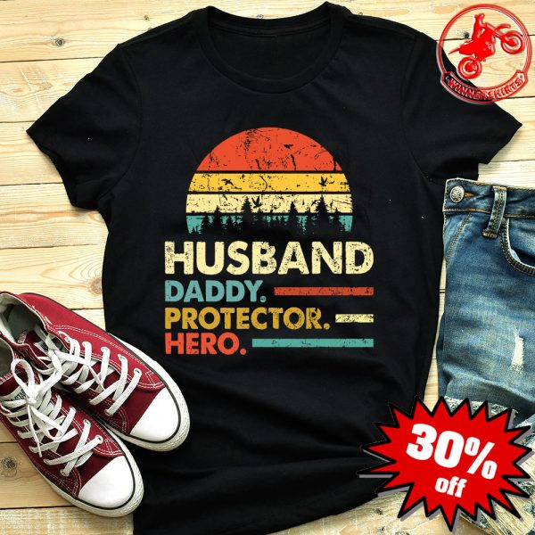 Husband Daddy Protector Hero Vintage Sunset Shirt