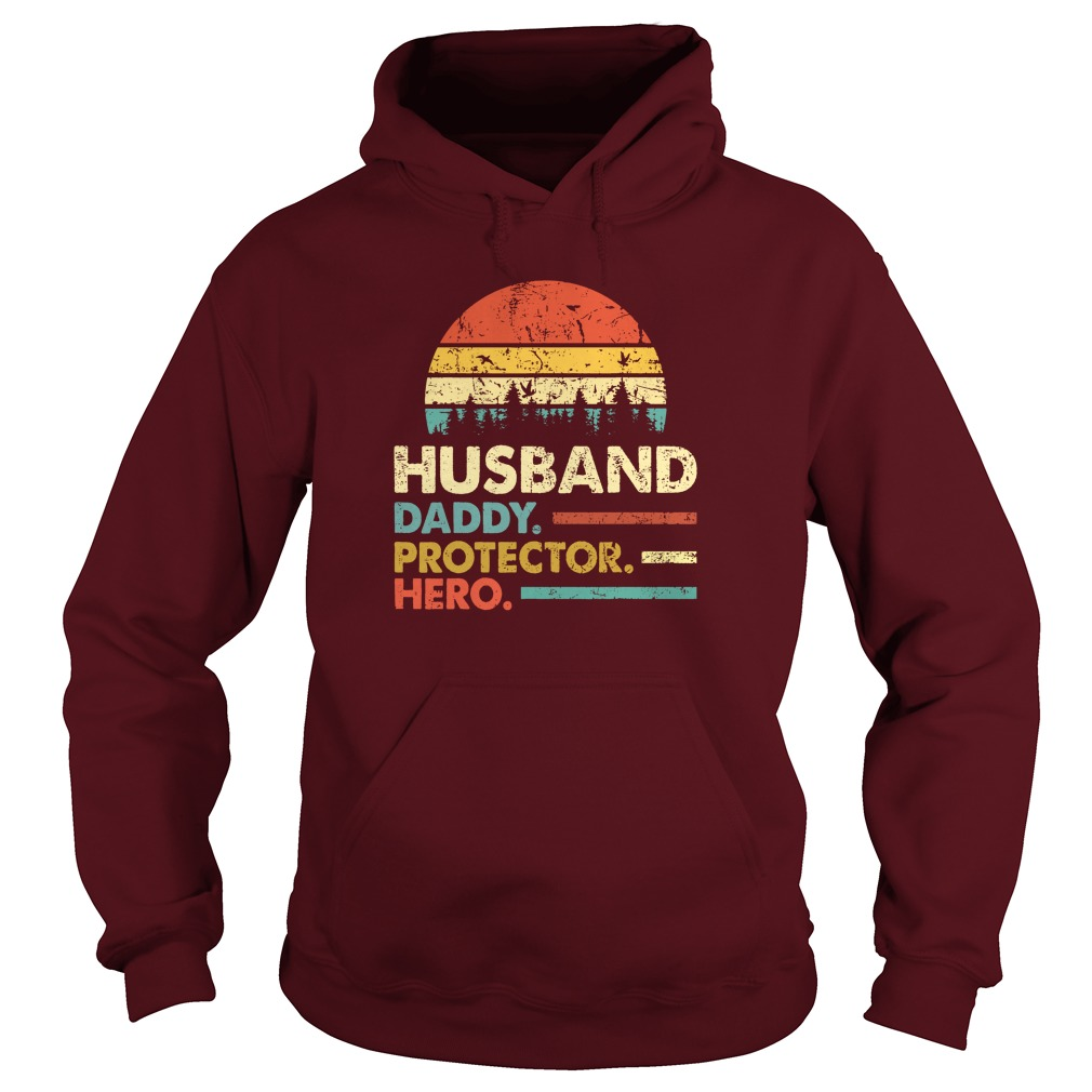 Husband Daddy Protector Hero Vintage Sunset hoodie