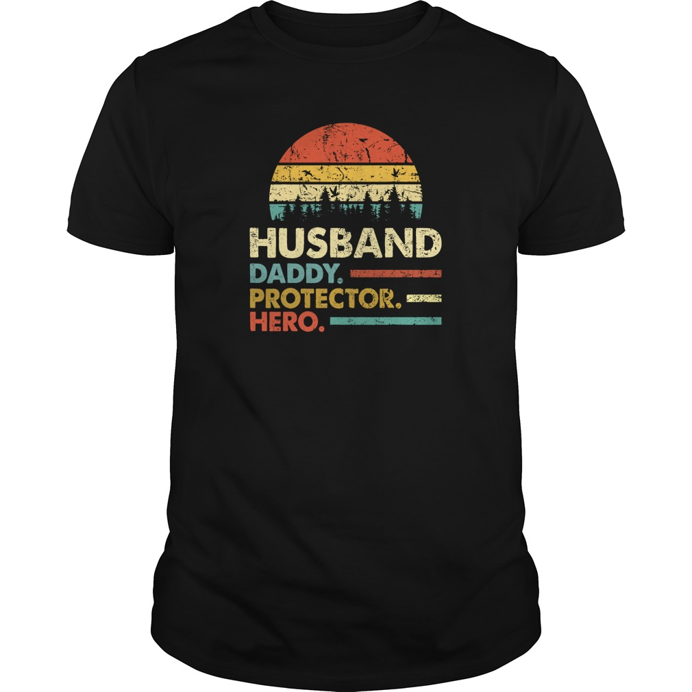 Husband Daddy Protector Hero Vintage Sunset unisex shirt