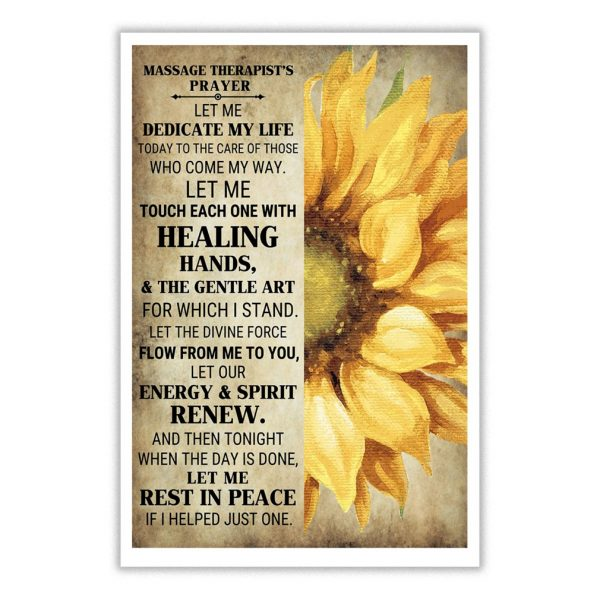 Massage therapist's prayer let me dedicate my life today poster