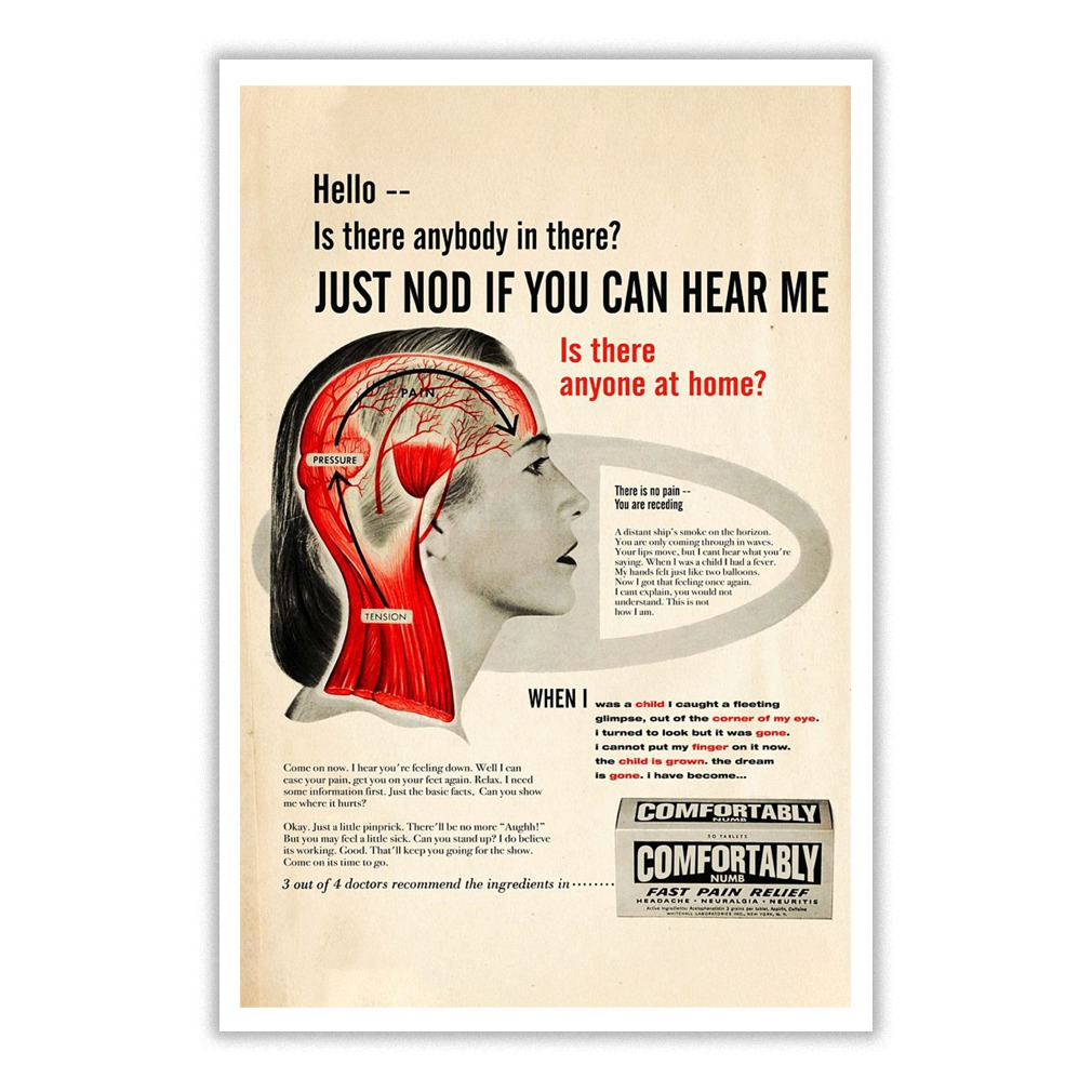 f49fa323bfb3 Pink Floyd Comfortably Numb Hello Is There Anybody In There Poster