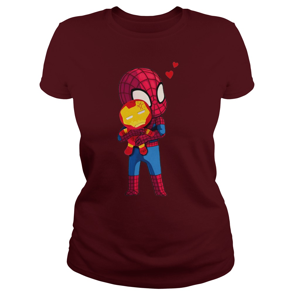 Spider Man Hug baby Iron Man Lady Shirt