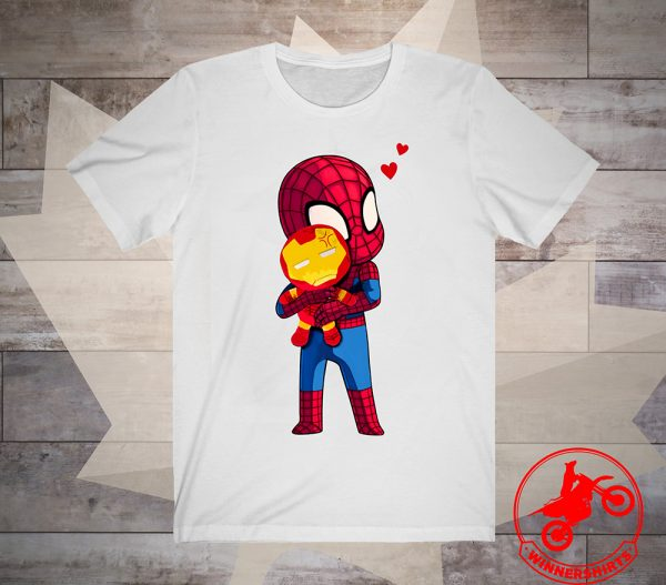 Spider Man Hug baby Iron Man Shirt