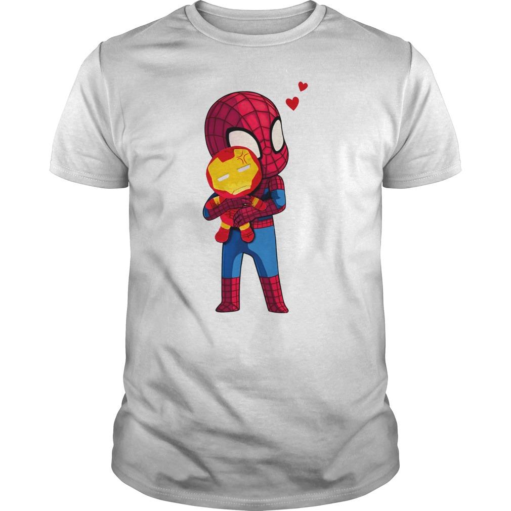 Spider Man Hug baby Iron Man Unisex Shirt
