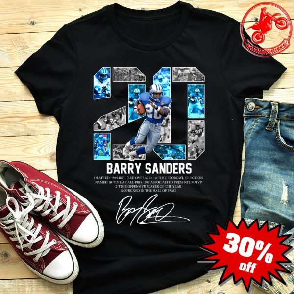 Barry Sanders 20 Detroit Lions Signature Shirt