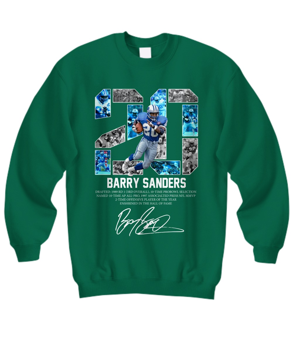 Barry Sanders 20 Detroit Lions Signature Sweatshirt