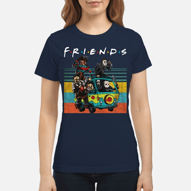 Friends Michael Myers Freddy Krueger Jason Voorhees Chucky Ghostface Driving Car Women Shirt