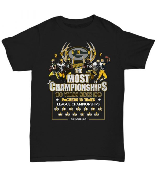 Green Bay Packers the most championships 100 years shirt