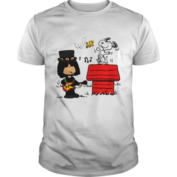 Slash Guns N' Roses Snoopy and Woodstock shirt