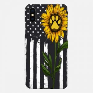 Sunflower American Flag Dog case